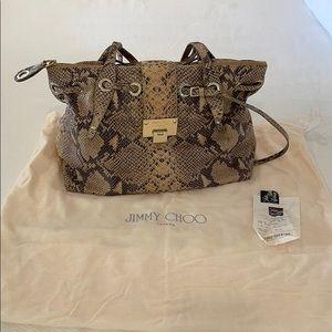 Authntc Jimmy Choo Python Handbag w/gold Hardware